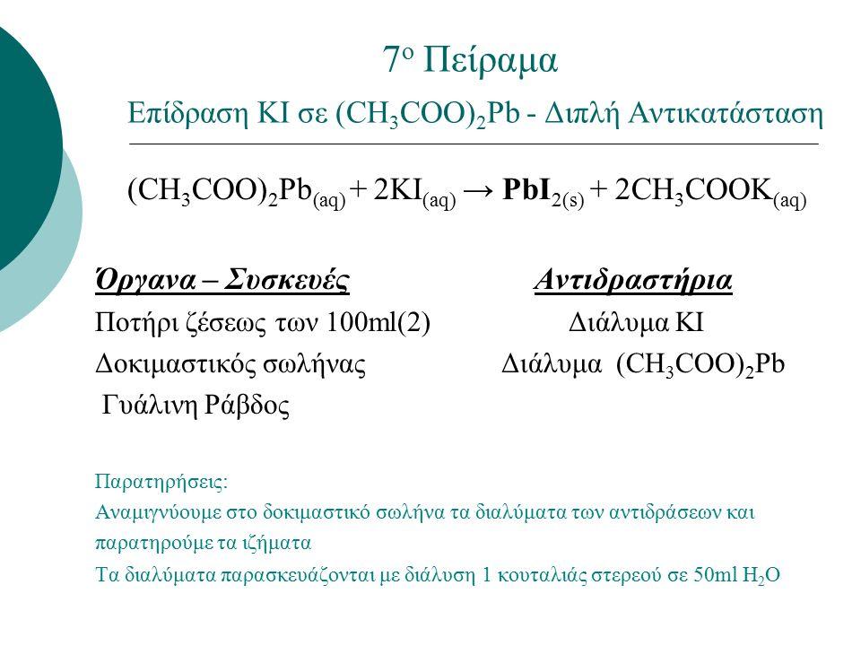 7 ο Πείραμα Επίδραση ΚΙ σε (CH 3 COO) 2 Pb - Διπλή Αντικατάσταση (CH 3 COO) 2 Pb (aq) + 2KI (aq) → PbI 2(s) + 2CH 3 COOK (aq) Όργανα – Συσκευές Αντιδραστήρια Ποτήρι ζέσεως των 100ml(2) Διάλυμα ΚΙ Δοκιμαστικός σωλήνας Διάλυμα (CH 3 COO) 2 Pb Γυάλινη Ράβδος Παρατηρήσεις: Αναμιγνύουμε στο δοκιμαστικό σωλήνα τα διαλύματα των αντιδράσεων και παρατηρούμε τα ιζήματα Τα διαλύματα παρασκευάζονται με διάλυση 1 κουταλιάς στερεού σε 50ml H 2 O