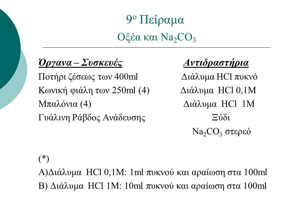 9 ο Πείραμα Οξέα και Na 2 CO 3 Όργανα – Συσκευές Αντιδραστήρια Ποτήρι ζέσεως των 400ml Διάλυμα HCl πυκνό Κωνική φιάλη των 250ml (4) Διάλυμα HCl 0,1Μ Mπαλόνια (4) Διάλυμα HCl 1Μ Γυάλινη Ράβδος Ανάδευσης Ξύδι Na 2 CO 3 στερεό (*) Α)Διάλυμα HCl 0,1Μ: 1ml πυκνού και αραίωση στα 100ml B) Διάλυμα HCl 1Μ: 10ml πυκνού και αραίωση στα 100ml