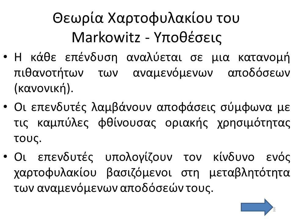 Υπόδειγμα Markowitz Αποτελεί τη βάση κάθε κλασσικής προσέγγισης της επιλογής χαρτοφυλακίου Βασίζεται σε δυο άξονες – τη μεγιστοποίηση της απόδοσης του