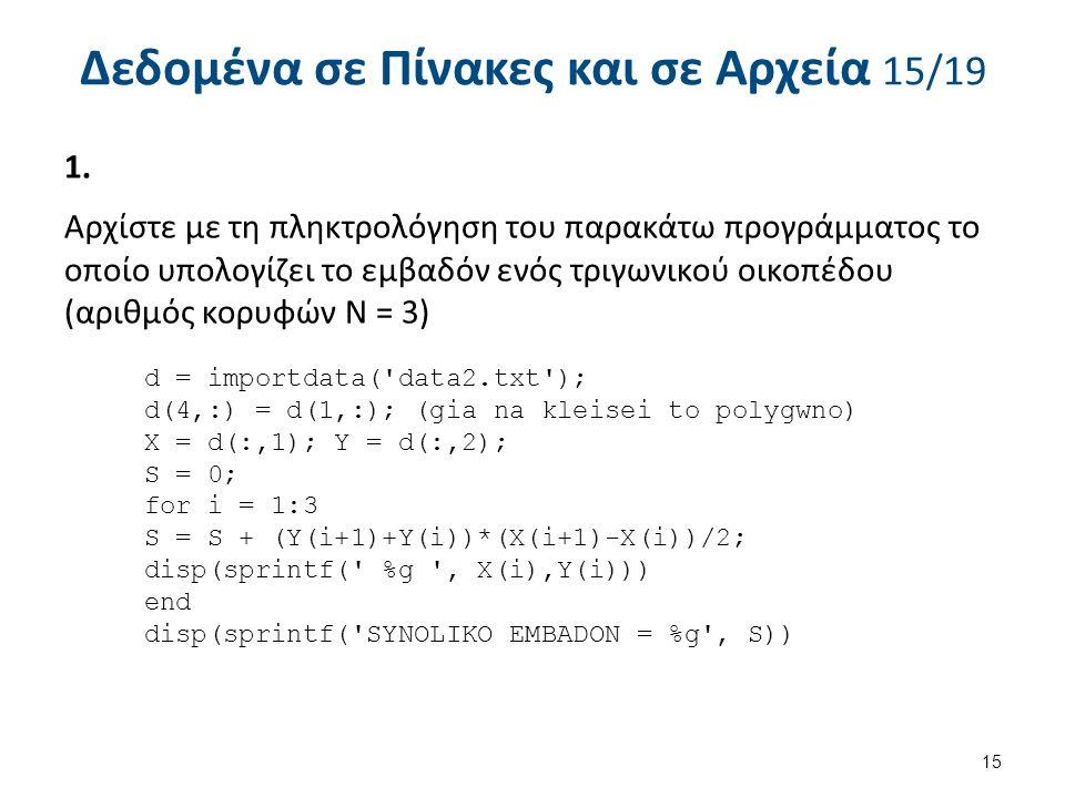 Δεδομένα σε Πίνακες και σε Αρχεία 15/19 1.