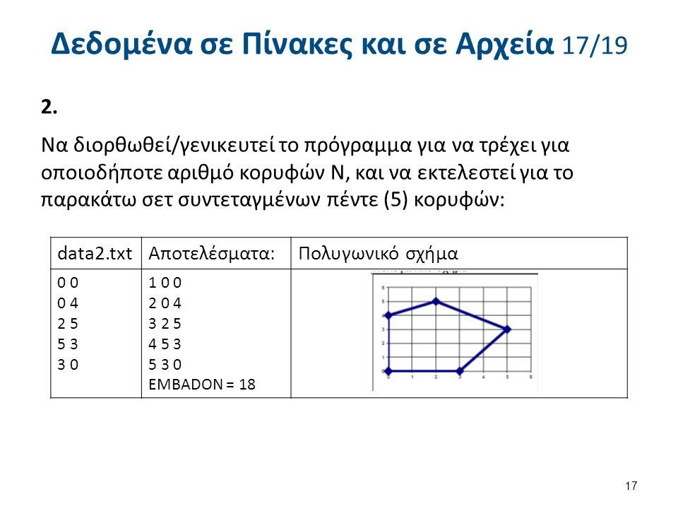 Δεδομένα σε Πίνακες και σε Αρχεία 17/19 2.