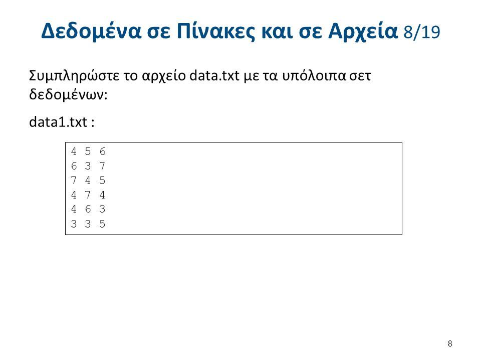 Δεδομένα σε Πίνακες και σε Αρχεία 8/19 Συμπληρώστε το αρχείο data.txt με τα υπόλοιπα σετ δεδομένων: data1.txt : 8 4 5 6 6 3 7 7 4 5 4 7 4 4 6 3 3 3 5