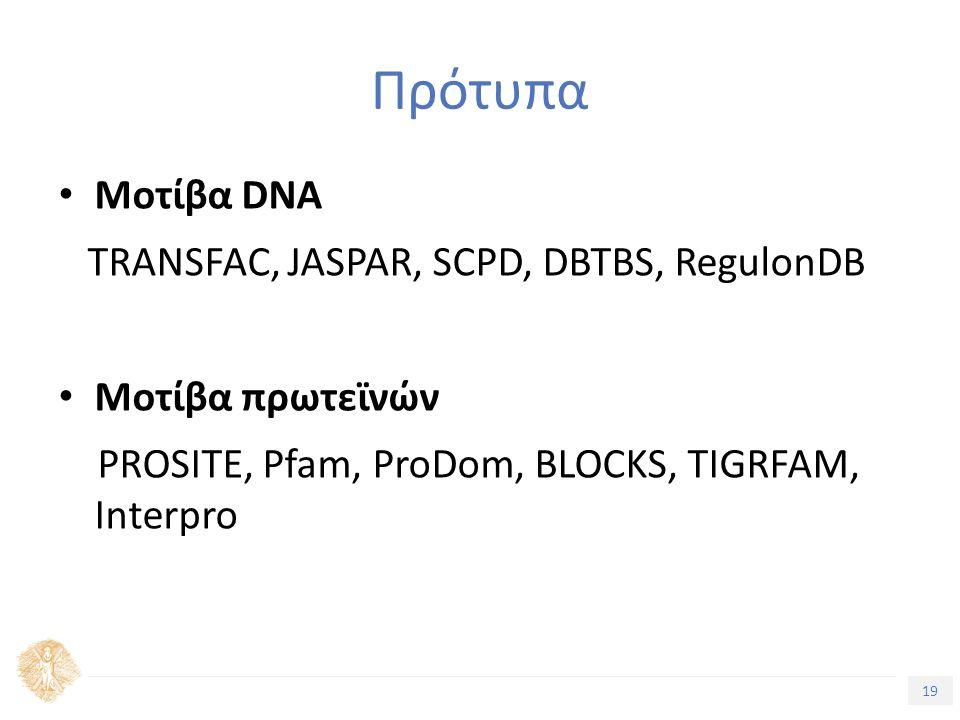 19 Τίτλος Ενότητας Πρότυπα Μοτίβα DNA TRANSFAC, JASPAR, SCPD, DBTBS, RegulonDB Μοτίβα πρωτεϊνών PROSITE, Pfam, ProDom, BLOCKS, TIGRFAM, Interpro