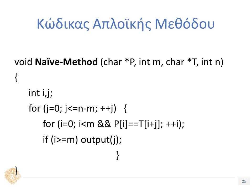 25 Τίτλος Ενότητας Κώδικας Απλοϊκής Μεθόδου void Naïve-Method (char *P, int m, char *T, int n) { int i,j; for (j=0; j<=n-m; ++j) { for (i=0; i<m && P[i]==T[i+j]; ++i); if (i>=m) output(j); }