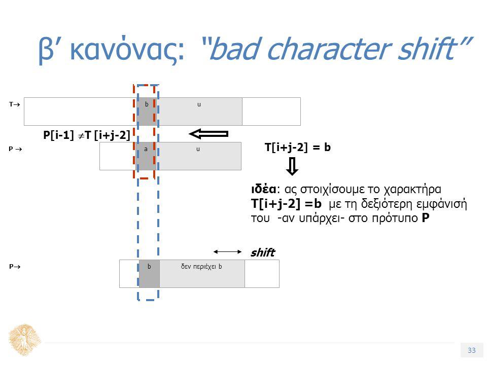 33 Τίτλος Ενότητας β' κανόνας: bad character shift TT bu P  au shift ιδέα: ας στοιχίσουμε το χαρακτήρα T[i+j-2] =b με τη δεξιότερη εμφάνισή του -αν υπάρχει- στο πρότυπο P P[i-1]  T [i+j-2] T[i+j-2] = b PP bδεν περιέχει b