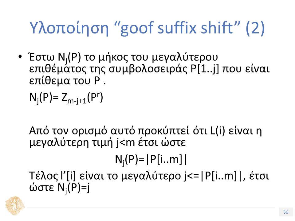 """36 Τίτλος Ενότητας Υλοποίηση """"goof suffix shift"""" (2) Έστω N j (P) το μήκος του μεγαλύτερου επιθέματος της συμβολοσειράς P[1..j] που είναι επίθεμα του"""