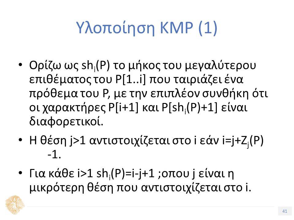41 Τίτλος Ενότητας Υλοποίηση KMP (1) Ορίζω ως sh i (P) το μήκος του μεγαλύτερου επιθέματος του P[1..i] που ταιριάζει ένα πρόθεμα του P, με την επιπλέον συνθήκη ότι οι χαρακτήρες P[i+1] και P[sh i (P)+1] είναι διαφορετικοί.
