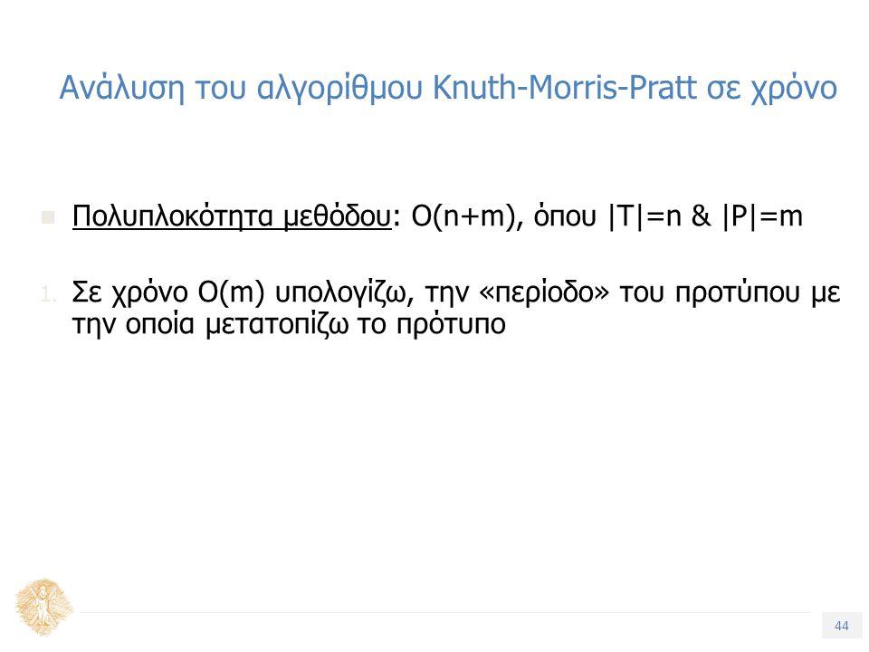 44 Τίτλος Ενότητας Ανάλυση του αλγορίθμου Knuth-Morris-Pratt σε χρόνο Πολυπλοκότητα μεθόδου: Ο(n+m), όπου |T|=n & |P|=m 1. Σε χρόνο O(m) υπολογίζω, τη