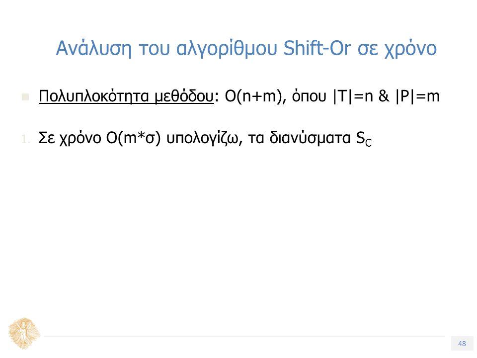 48 Τίτλος Ενότητας Ανάλυση του αλγορίθμου Shift-Or σε χρόνο Πολυπλοκότητα μεθόδου: Ο(n+m), όπου |T|=n & |P|=m 1. Σε χρόνο O(m*σ) υπολογίζω, τα διανύσμ