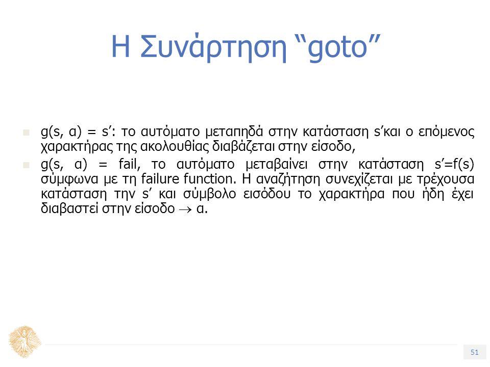 51 Τίτλος Ενότητας Η Συνάρτηση goto g(s, α) = s': το αυτόματο μεταπηδά στην κατάσταση s'και ο επόμενος χαρακτήρας της ακολουθίας διαβάζεται στην είσοδο, g(s, α) = fail, το αυτόματο μεταβαίνει στην κατάσταση s'=f(s) σύμφωνα με τη failure function.