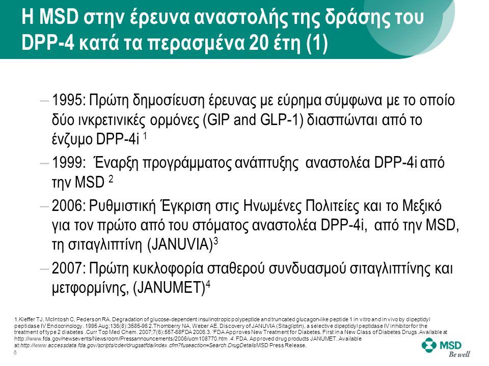 Η MSD στην έρευνα αναστολής της δράσης του DPP-4 κατά τα περασμένα 20 έτη (1) – 1995: Πρώτη δημοσίευση έρευνας με εύρημα σύμφωνα με το οποίο δύο ινκρετινικές ορμόνες (GIP and GLP-1) διασπώνται από το ένζυμο DPP-4i 1 – 1999: Έναρξη προγράμματος ανάπτυξης αναστολέα DPP-4i από την MSD 2 – 2006: Ρυθμιστική Έγκριση στις Ηνωμένες Πολιτείες και το Μεξικό για τον πρώτο από του στόματος αναστολέα DPP-4i, από την MSD, τη σιταγλιπτίνη (JANUVIA) 3 – 2007: Πρώτη κυκλοφορία σταθερού συνδυασμού σιταγλιπτίνης και μετφορμίνης, (JANUMET) 4 8 1.Kieffer TJ, McIntosh C, Pederson RA.
