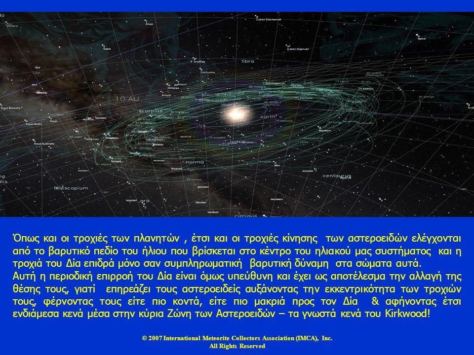 © 2007 International Meteorite Collectors Association (IMCA), Inc. All Rights Reserved Όπως και οι τροχιές των πλανητών, έτσι και οι τροχιές κίνησης τ