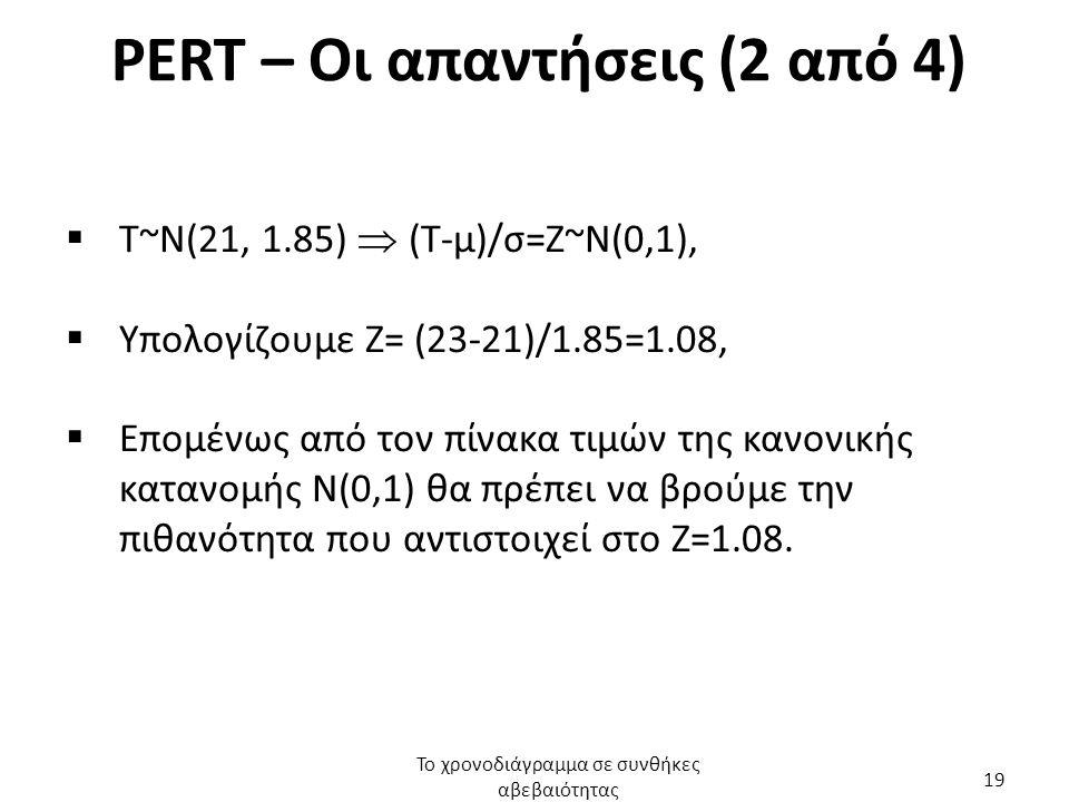 PERT – Οι απαντήσεις (2 από 4)  Τ~Ν(21, 1.85)  (Τ-μ)/σ=Ζ~Ν(0,1),  Υπολογίζουμε Ζ= (23-21)/1.85=1.08,  Επομένως από τον πίνακα τιμών της κανονικής κατανομής Ν(0,1) θα πρέπει να βρούμε την πιθανότητα που αντιστοιχεί στο Ζ=1.08.
