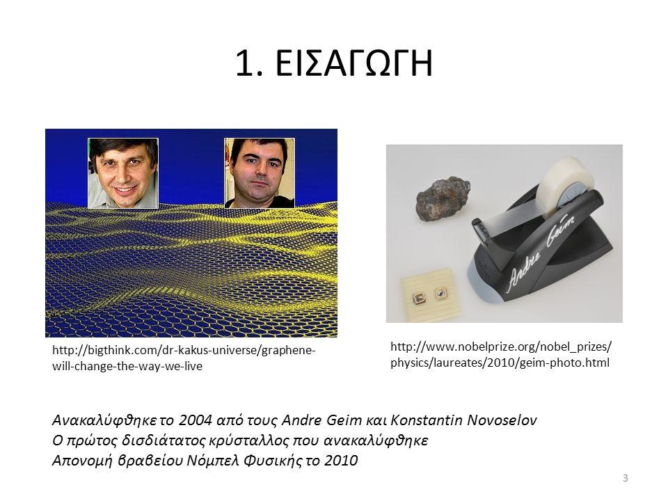1. ΕΙΣΑΓΩΓΗ Ανακαλύφθηκε το 2004 από τους Andre Geim και Konstantin Novoselov Ο πρώτος δισδιάτατος κρύσταλλος που ανακαλύφθηκε Απονομή βραβείου Νόμπελ