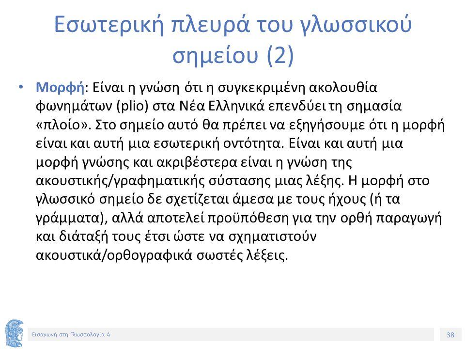 38 Εισαγωγή στη Γλωσσολογία Α Εσωτερική πλευρά του γλωσσικού σημείου (2) Μορφή: Είναι η γνώση ότι η συγκεκριμένη ακολουθία φωνημάτων (plio) στα Νέα Ελληνικά επενδύει τη σημασία «πλοίο».