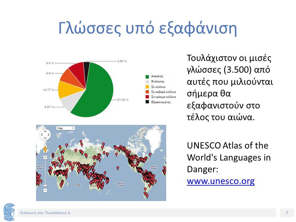 7 Εισαγωγή στη Γλωσσολογία Α Τουλάχιστον οι μισές γλώσσες (3.500) από αυτές που μιλιούνται σήμερα θα εξαφανιστούν στο τέλος του αιώνα.