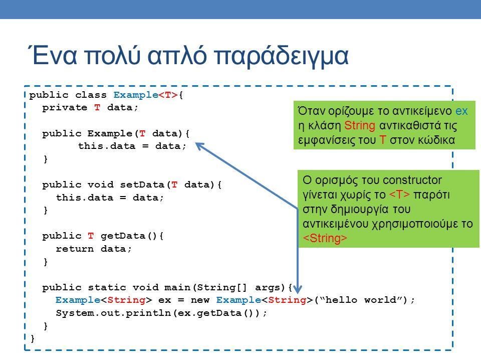 Ένα πολύ απλό παράδειγμα public class Example { private T data; public Example(T data){ this.data = data; } public void setData(T data){ this.data = d