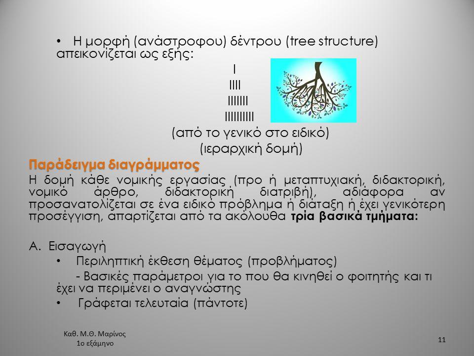 Η μορφή (ανάστροφου) δέντρου (tree structure) απεικονίζεται ως εξής: I ΙΙII ΙΙΙΙIII ΙΙIIIIIIII (από το γενικό στο ειδικό) (ιεραρχική δομή) Παράδειγμα διαγράμματος Η δομή κάθε νομικής εργασίας (προ ή μεταπτυχιακή, διδακτορική, νομικό άρθρο, διδακτορική διατριβή), αδιάφορα αν προσανατολίζεται σε ένα ειδικό πρόβλημα ή διάταξη ή έχει γενικότερη προσέγγιση, απαρτίζεται από τα ακόλουθα τρία βασικά τμήματα: Α.