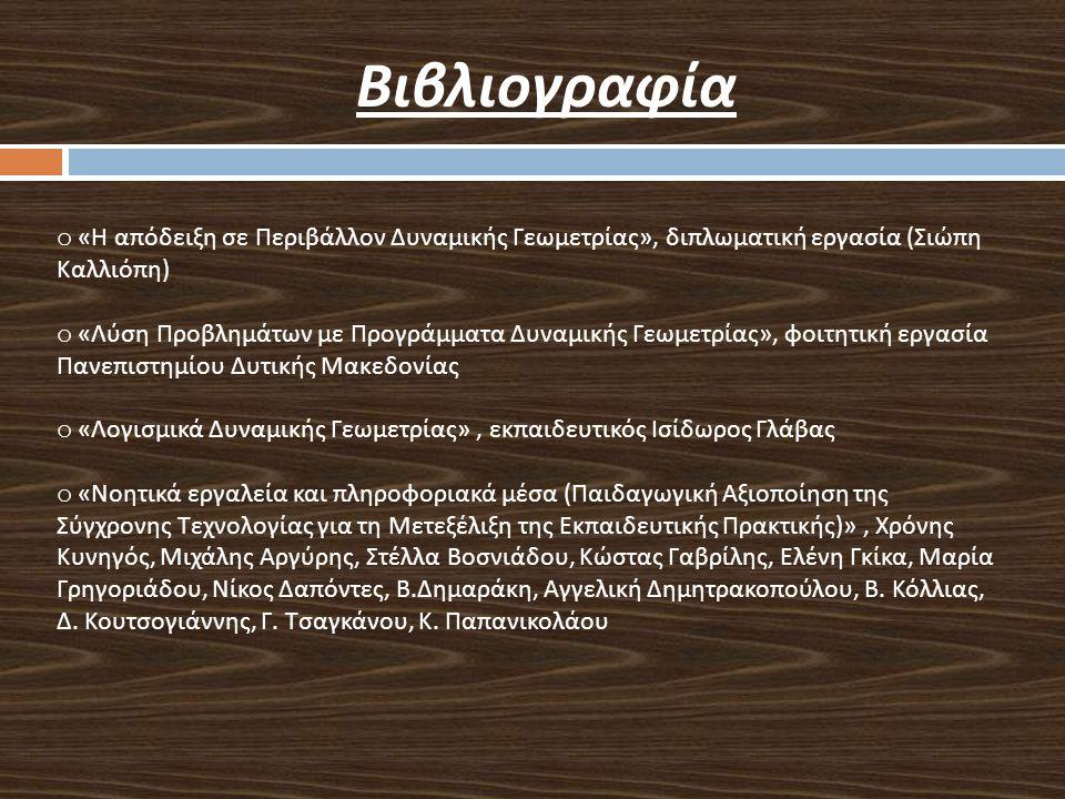 Βιβλιογραφία o « Η απόδειξη σε Περιβάλλον Δυναμικής Γεωμετρίας », διπλωματική εργασία ( Σιώπη Καλλιόπη ) o « Λύση Προβλημάτων με Προγράμματα Δυναμικής Γεωμετρίας », φοιτητική εργασία Πανεπιστημίου Δυτικής Μακεδονίας o « Λογισμικά Δυναμικής Γεωμετρίας », εκπαιδευτικός Ισίδωρος Γλάβας o « Νοητικά εργαλεία και πληροφοριακά μέσα ( Παιδαγωγική Αξιοποίηση της Σύγχρονης Τεχνολογίας για τη Μετεξέλιξη της Εκπαιδευτικής Πρακτικής )», Χρόνης Κυνηγός, Μιχάλης Αργύρης, Στέλλα Βοσνιάδου, Κώστας Γαβρίλης, Ελένη Γκίκα, Μαρία Γρηγοριάδου, Νίκος Δαπόντες, Β.
