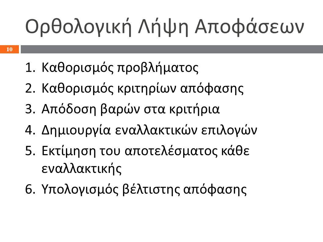 Ορθολογική Λήψη Αποφάσεων 1.Καθορισμός προβλήματος 2.Καθορισμός κριτηρίων απόφασης 3.Απόδοση βαρών στα κριτήρια 4.Δημιουργία εναλλακτικών επιλογών 5.Εκτίμηση του αποτελέσματος κάθε εναλλακτικής 6.Υπολογισμός βέλτιστης απόφασης 10
