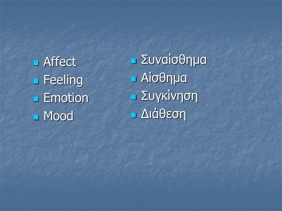 Affect Affect Feeling Feeling Emotion Emotion Mood Mood Συναίσθημα Συναίσθημα Αίσθημα Αίσθημα Συγκίνηση Συγκίνηση Διάθεση Διάθεση