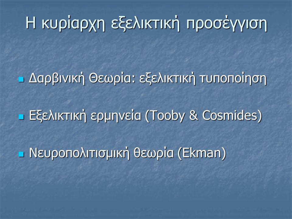 Η κυρίαρχη εξελικτική προσέγγιση Δαρβινική Θεωρία: εξελικτική τυποποίηση Δαρβινική Θεωρία: εξελικτική τυποποίηση Εξελικτική ερμηνεία (Tooby & Cosmides) Εξελικτική ερμηνεία (Tooby & Cosmides) Νευροπολιτισμική θεωρία (Ekman) Νευροπολιτισμική θεωρία (Ekman)