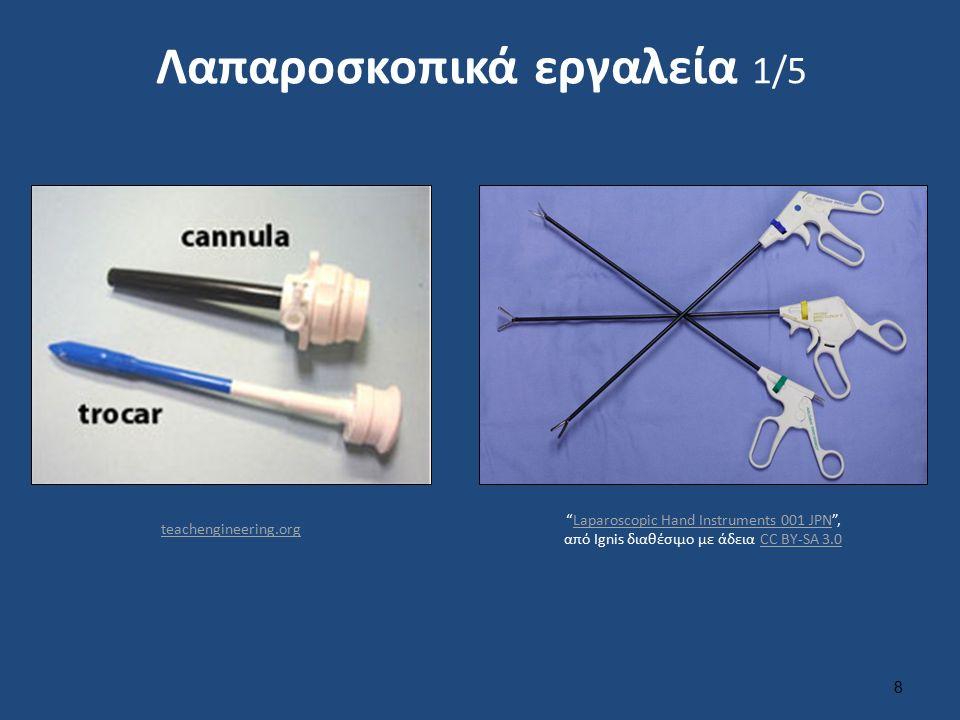 Λαπαροσκοπικά εργαλεία 2/5 9 Λαπαροσκοπικά εργαλεία για κήλη Instruments for laparoscopic Hernia Operation , από Anpol42 διαθέσιμο με άδεια CC BY-SA 3.0Instruments for laparoscopic Hernia OperationAnpol42CC BY-SA 3.0