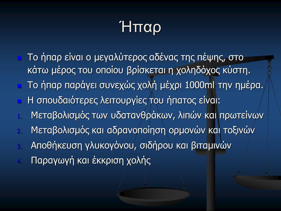 Ήπαρ Το ήπαρ είναι ο μεγαλύτερος αδένας της πέψης, στο κάτω μέρος του οποίου βρίσκεται η χοληδόχος κύστη. Το ήπαρ είναι ο μεγαλύτερος αδένας της πέψης