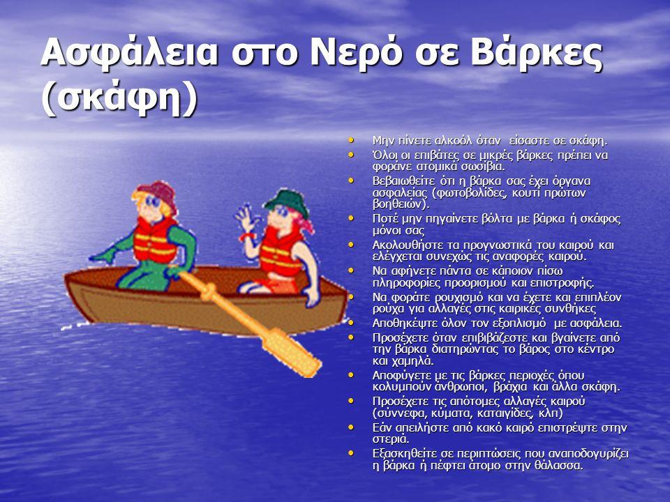 Ασφάλεια στο Νερό σε Βάρκες (σκάφη) Μην πίνετε αλκοόλ όταν είσαστε σε σκάφη. Μην πίνετε αλκοόλ όταν είσαστε σε σκάφη. Όλοι οι επιβάτες σε μικρές βάρκε