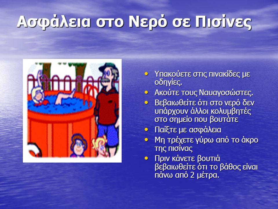 Ασφάλεια στο Νερό σε Πισίνες Υπακούετε στις πινακίδες με οδηγίες. Υπακούετε στις πινακίδες με οδηγίες. Ακούτε τους Ναυαγοσώστες. Ακούτε τους Ναυαγοσώσ