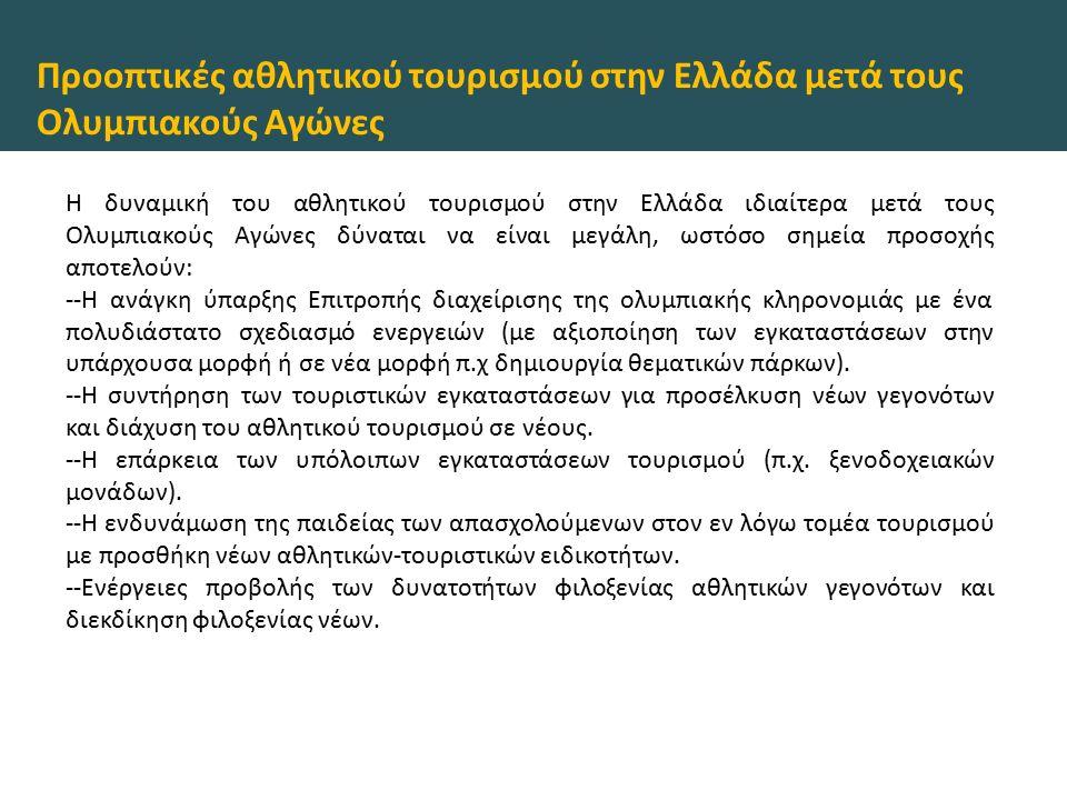 Προοπτικές αθλητικού τουρισμού στην Ελλάδα μετά τους Ολυμπιακούς Αγώνες Η δυναμική του αθλητικού τουρισμού στην Ελλάδα ιδιαίτερα μετά τους Ολυμπιακούς