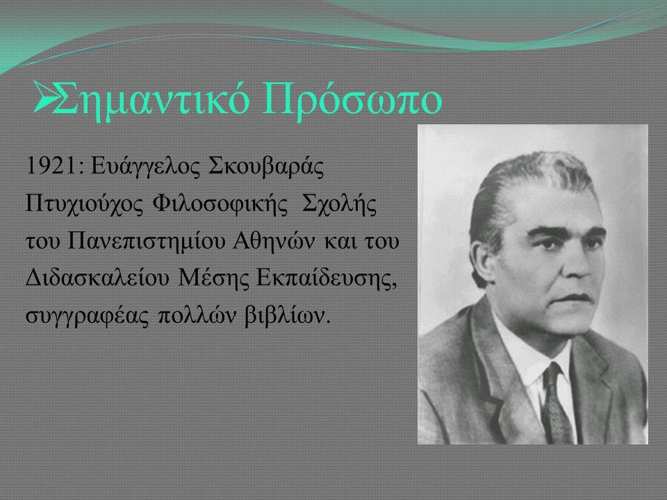  Σημαντικό Πρόσωπο 1921: Ευάγγελος Σκουβαράς Πτυχιούχος Φιλοσοφικής Σχολής του Πανεπιστημίου Αθηνών και του Διδασκαλείου Μέσης Εκπαίδευσης, συγγραφέας πολλών βιβλίων.