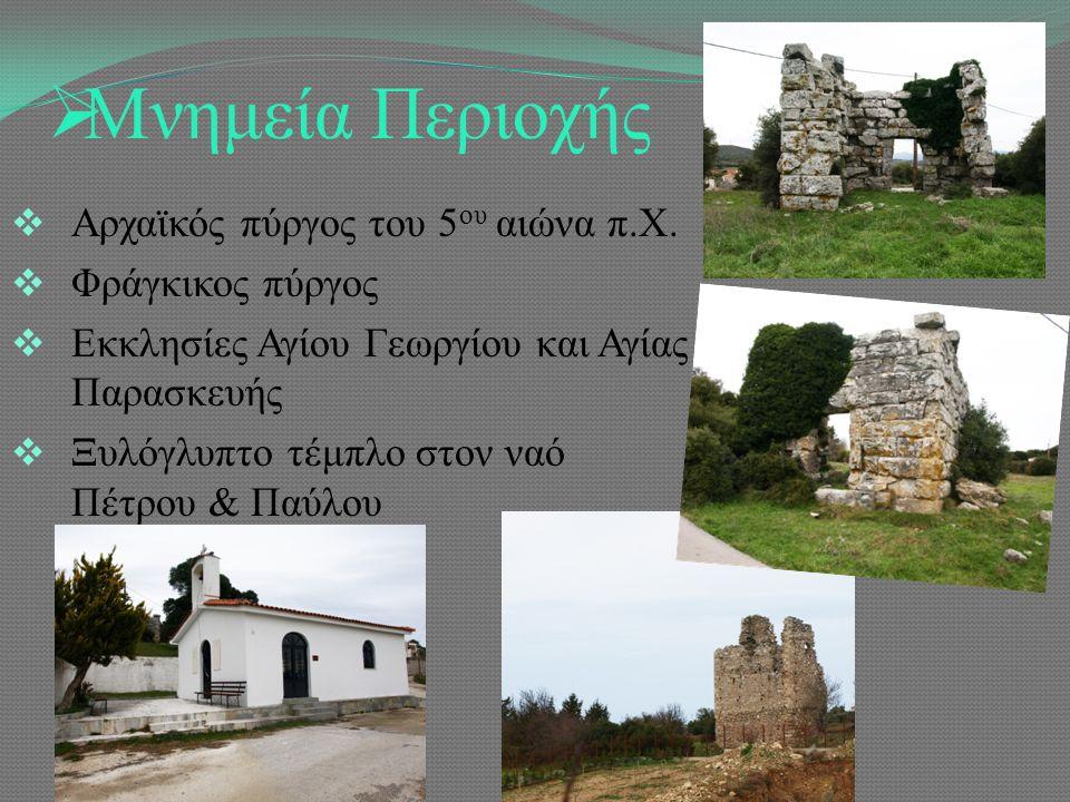  Μνημεία Περιοχής  Αρχαϊκός πύργος του 5 ου αιώνα π.Χ.