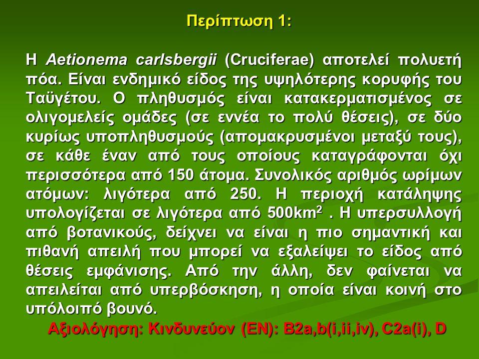 Αξιολόγηση: Κινδυνεύον (ΕΝ): B2a,b(i,ii,iv), C2a(i), D Περίπτωση 1: H Aetionema carlsbergii (Cruciferae) αποτελεί πολυετή πόα.
