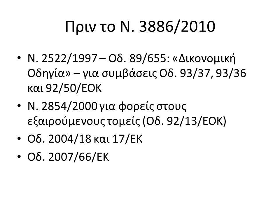 Πριν το Ν. 3886/2010 Ν. 2522/1997 – Οδ. 89/655: «Δικονομική Οδηγία» – για συμβάσεις Οδ.