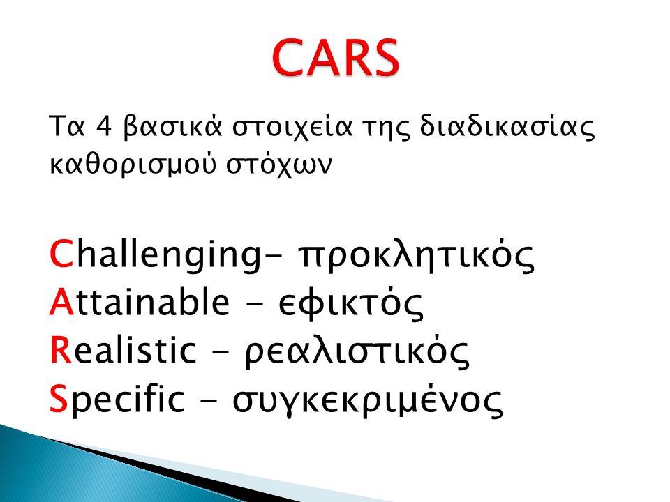 Τα 4 βασικά στοιχεία της διαδικασίας καθορισμού στόχων Challenging- προκλητικός Attainable - εφικτός Realistic - ρεαλιστικός Specific - συγκεκριμένος
