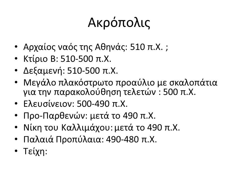 Ακρόπολις Αρχαίος ναός της Αθηνάς: 510 π.Χ. ; Κτίριο Β: 510-500 π.Χ. Δεξαμενή: 510-500 π.Χ. Μεγάλo πλακόστρωτo προαύλιο με σκαλοπάτια για την παρακολο