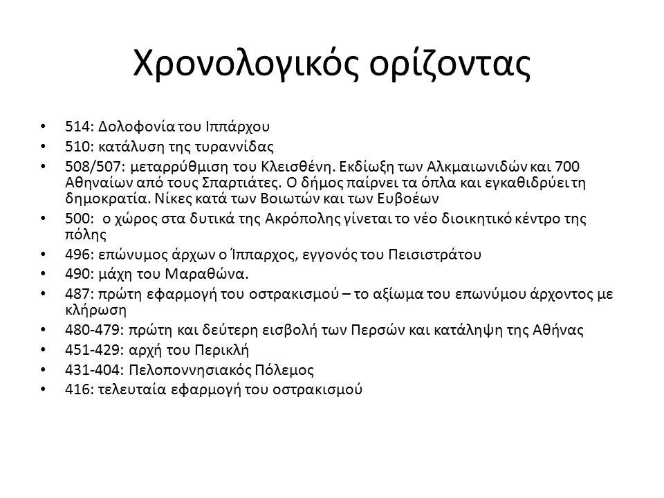 Χρονολογικός ορίζοντας 514: Δολοφονία του Ιππάρχου 510: κατάλυση της τυραννίδας 508/507: μεταρρύθμιση του Κλεισθένη. Εκδίωξη των Αλκμαιωνιδών και 700