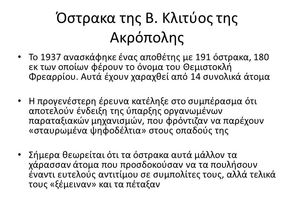 Όστρακα της Β. Κλιτύος της Ακρόπολης Το 1937 ανασκάφηκε ένας αποθέτης με 191 όστρακα, 180 εκ των οποίων φέρουν το όνομα του Θεμιστοκλή Φρεαρρίου. Αυτά