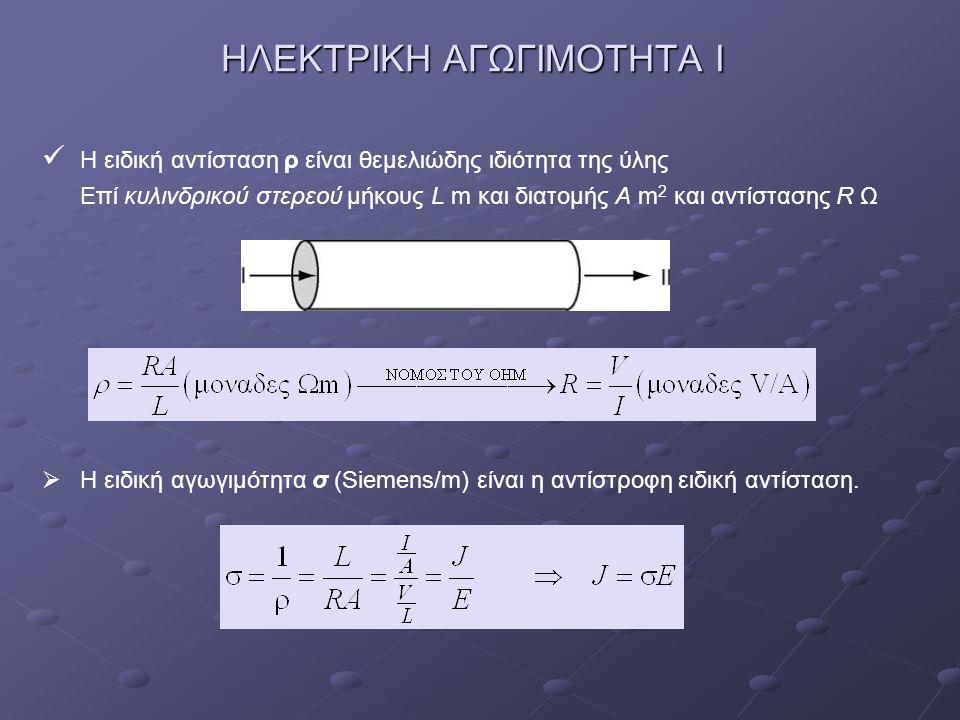ΗΛΕΚΤΡΙΚΗ ΑΓΩΓΙΜΟΤΗΤΑ Ι H ειδική αντίσταση ρ είναι θεμελιώδης ιδιότητα της ύλης Επί κυλινδρικού στερεού μήκους L m και διατομής Α m 2 και αντίστασης R