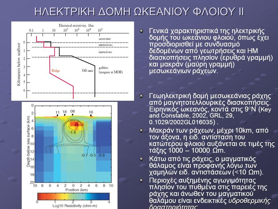 ΗΛΕΚΤΡΙΚΗ ΔΟΜΗ ΩΚΕΑΝΙΟΥ ΦΛΟΙΟΥ ΙΙ Γενικά χαρακτηριστικά της ηλεκτρικής δομής του ωκεάνιου φλοιού, όπως έχει προσδιορισθεί με συνδυασμό δεδομένων από γ