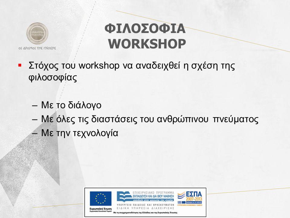 ΦΙΛΟΣΟΦΙΑ WORKSHOP  Στόχος του workshop να αναδειχθεί η σχέση της φιλοσοφίας –Με το διάλογο –Με όλες τις διαστάσεις του ανθρώπινου πνεύματος –Με την τεχνολογία