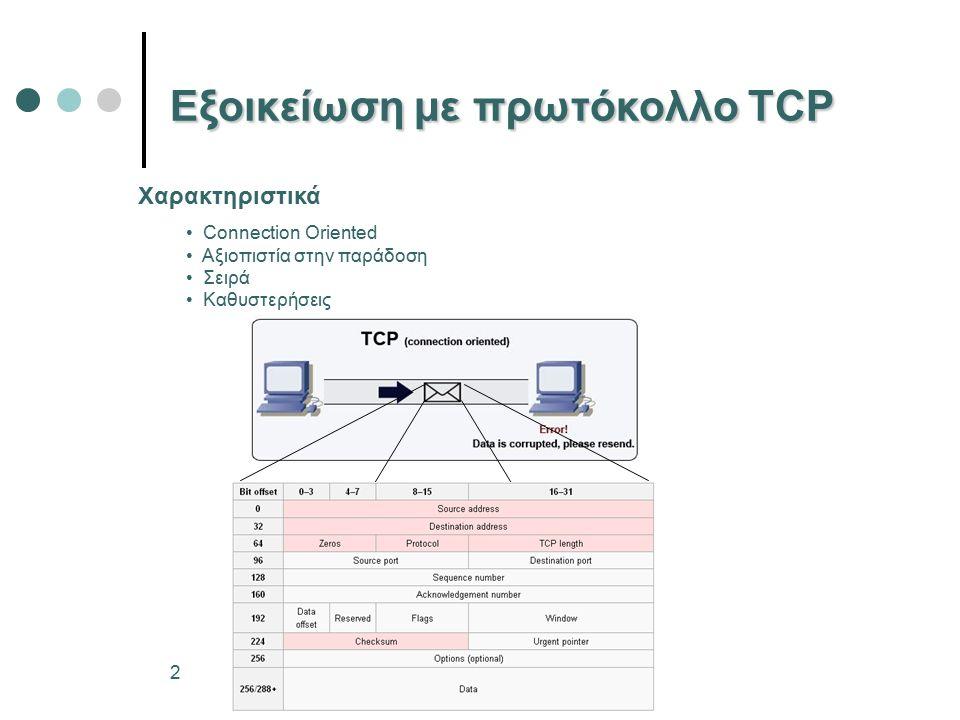 2 Εξοικείωση με πρωτόκολλο TCP Connection Oriented Αξιοπιστία στην παράδοση Σειρά Καθυστερήσεις Χαρακτηριστικά