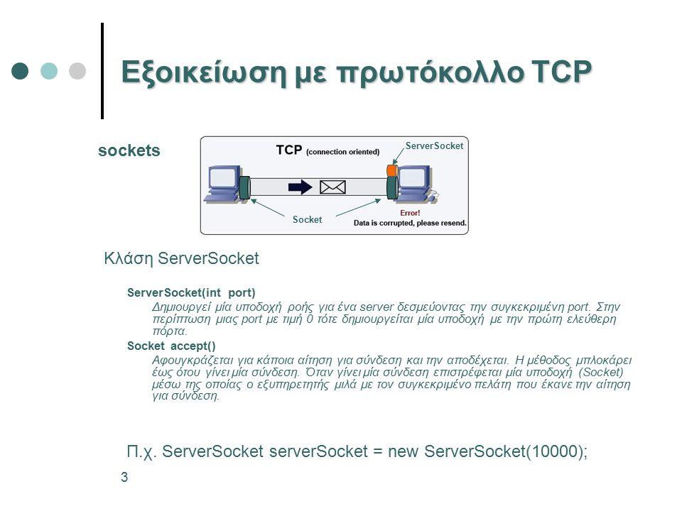 3 Εξοικείωση με πρωτόκολλο TCP ServerSocket(int port) Δημιουργεί μία υποδοχή ροής για ένα server δεσμεύοντας την συγκεκριμένη port.