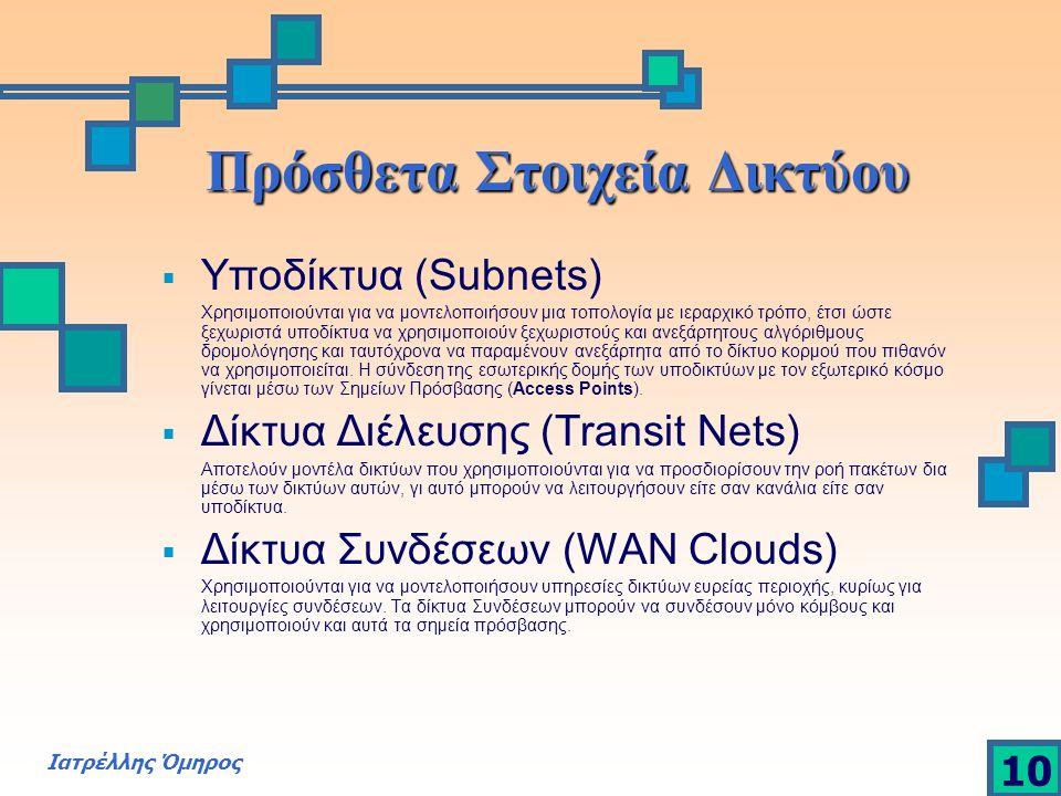 Ιατρέλλης Όμηρος 10 Πρόσθετα Στοιχεία Δικτύου  Υποδίκτυα (Subnets) Χρησιμοποιούνται για να μοντελοποιήσουν μια τοπολογία με ιεραρχικό τρόπο, έτσι ώστ