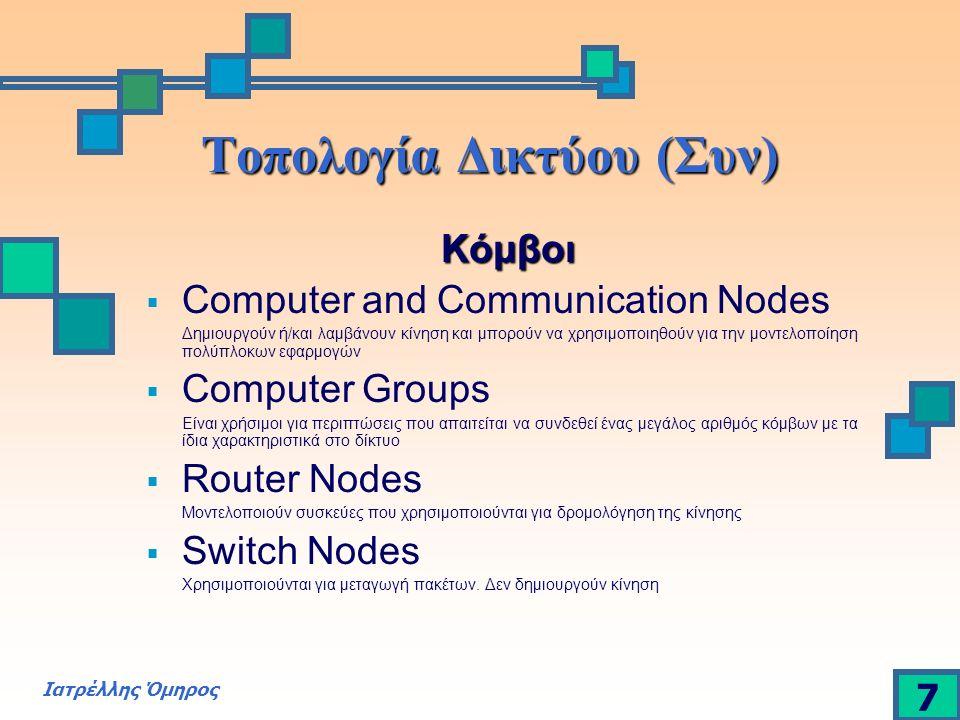 Ιατρέλλης Όμηρος 7 Τοπολογία Δικτύου (Συν) Κόμβοι  Computer and Communication Nodes Δημιουργούν ή/και λαμβάνουν κίνηση και μπορούν να χρησιμοποιηθούν