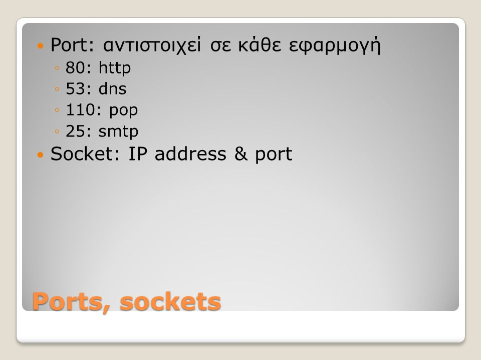 Ports, sockets Port: αντιστοιχεί σε κάθε εφαρμογή ◦80: http ◦53: dns ◦110: pop ◦25: smtp Socket: IP address & port