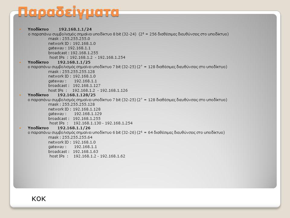 Παραδείγματα Υποδίκτυο 192.168.1.1/24 ο παραπάνω συμβολισμός σημαίνει υποδίκτυο 8 bit (32-24) (2 8 = 256 διαθέσιμες διευθύνσεις στο υποδίκτυο) mask : 255.255.255.0 network ID : 192.168.1.0 gateway : 192.168.1.1 broadcast : 192.168.1.255 host IPs : 192.168.1.2 - 192.168.1.254 Υποδίκτυο 192.168.1.1/25 ο παραπάνω συμβολισμός σημαίνει υποδίκτυο 7 bit (32-25) (2 7 = 128 διαθέσιμες διευθύνσεις στο υποδίκτυο) mask : 255.255.255.128 network ID : 192.168.1.0 gateway : 192.168.1.1 broadcast : 192.168.1.127 host IPs : 192.168.1.2 - 192.168.1.126 Υποδίκτυο 192.168.1.128/25 ο παραπάνω συμβολισμός σημαίνει υποδίκτυο 7 bit (32-25) (2 7 = 128 διαθέσιμες διευθύνσεις στο υποδίκτυο) mask : 255.255.255.128 network ID : 192.168.1.128 gateway : 192.168.1.129 broadcast : 192.168.1.255 host IPs : 192.168.1.130 - 192.168.1.254 Υποδίκτυο 192.168.1.1/26 ο παραπάνω συμβολισμός σημαίνει υποδίκτυο 6 bit (32-26) (2 6 = 64 διαθέσιμες διευθύνσεις στο υποδίκτυο) mask : 255.255.255.64 network ID : 192.168.1.0 gateway : 192.168.1.1 broadcast : 192.168.1.63 host IPs : 192.168.1.2 - 192.168.1.62 κοκ