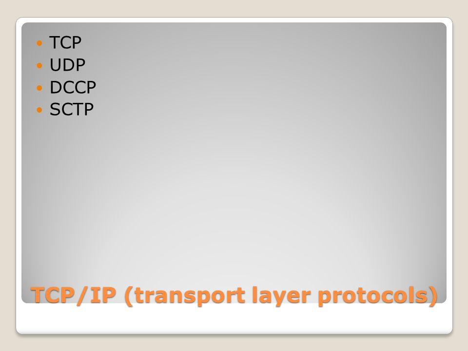TCP/IP (internet layer protocols) IPv4 IPv6 ICMP ICMPv6 IGMP IPsec