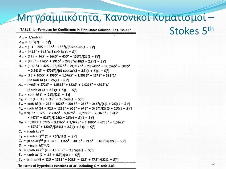 Μη γραμμικότητα, Κανονικοί Κυματισμοί – Stokes 5 th Σειρά VII10